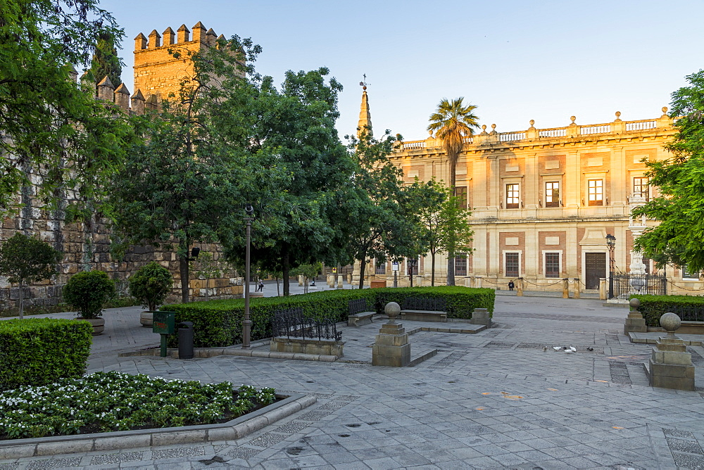 Plaza del Triunfo at first sunlight, Seville, Andalusia, Spain, Europe