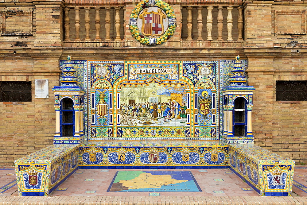 Tiled Alcove from Barcelona at Plaza de Espana, Seville, Andalusia, Spain, Europe