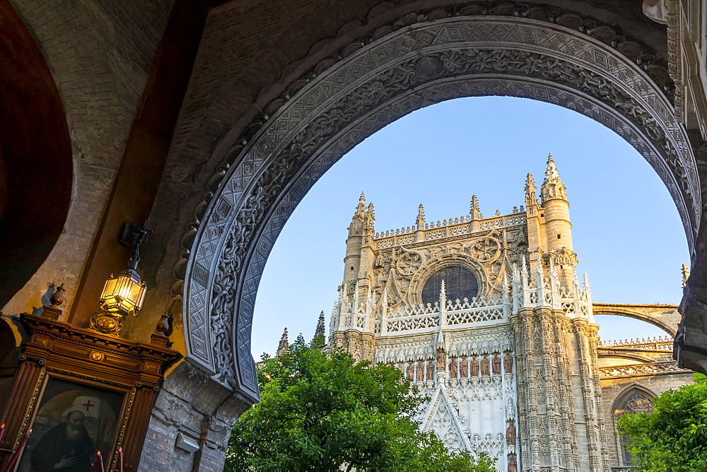 The Cathedral of Seville seen from the Door of Pardon (Puerta del Perdón), Seville, Andalusia, Spain, Europe