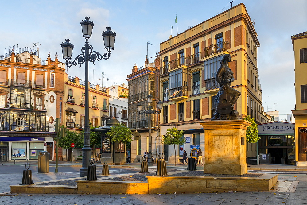 Triana al Arte flamenco monument at first sunlight, Triana Neighborhood, Seville, Andalusia, Spain, Europe