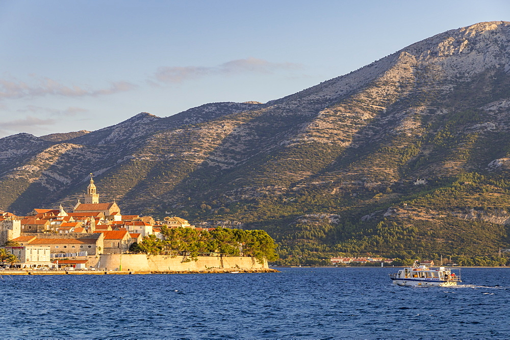View to the old town of Korcula and the Peljesac Peninsula, Korcula, Croatia, Europe