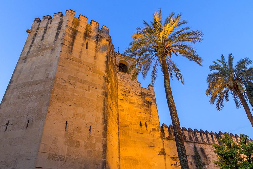 Illuminated walls of the Royal Alcazars at dusk, Cordoba, Andalusia, Spain, Europe