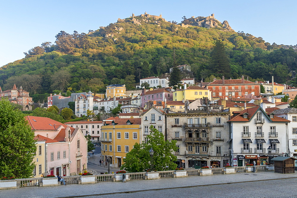 Old town of Sintra with view to the Moorish Castle atop the surrounding hills, Sintra, Portugal, Europe
