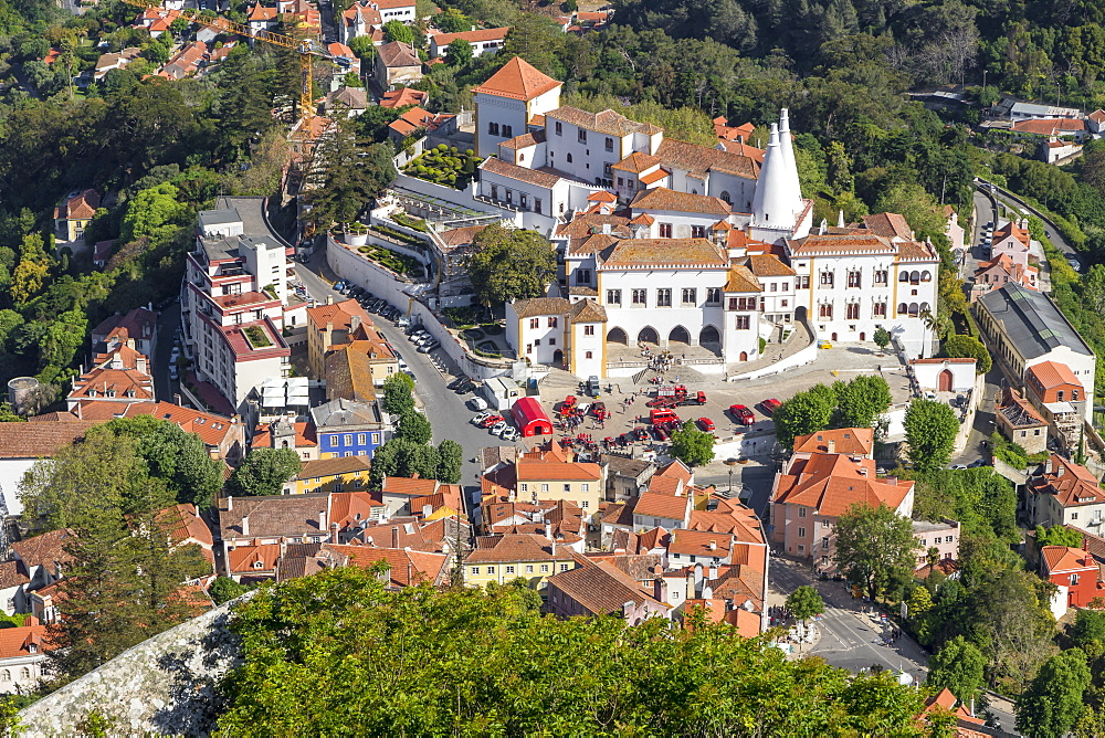 View from the Moorish Castle down to the historical centre of Sintra, Portugal, Europe