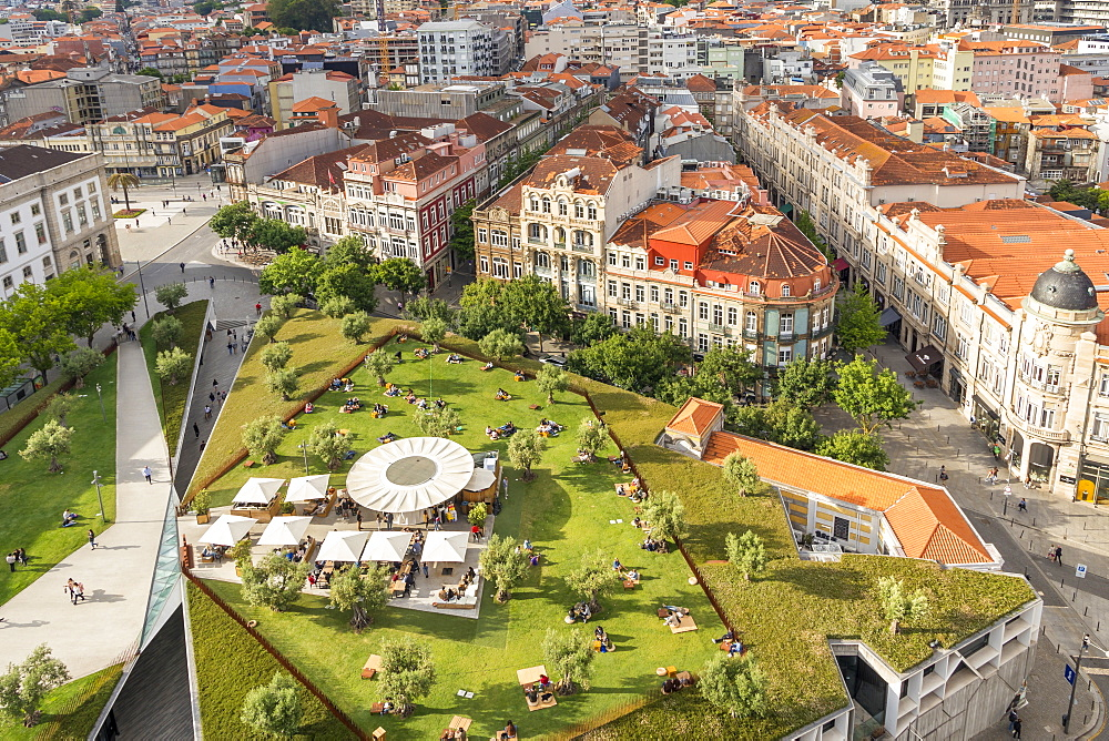 Lisbon Square seen from the bell tower of Clerigos Church, Porto, Portugal, Europe