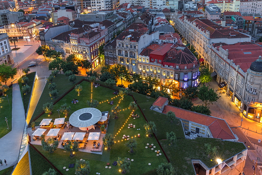 Lisbon Square seen from the bell tower of Clerigos Church at dusk, Porto, Portugal, Europe