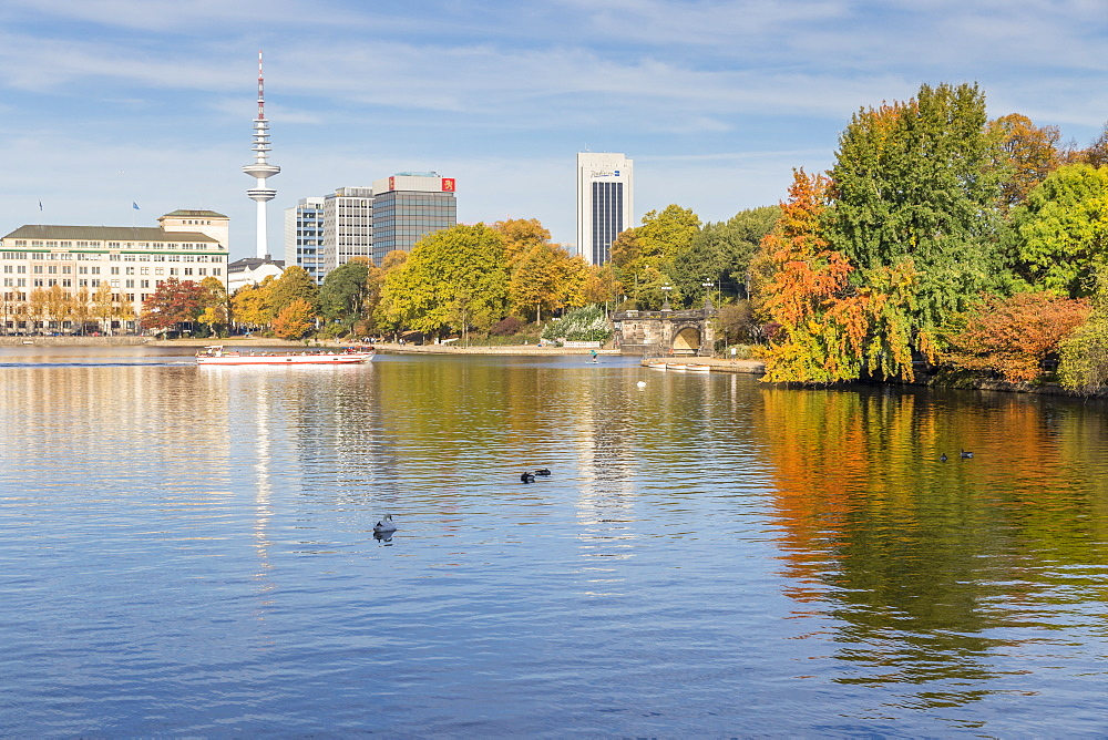 The Inner Alster (Binnenalster) with view to the Fernsehturm (Television tower) during autumn, Hamburg, Germany, Europe - 1283-692