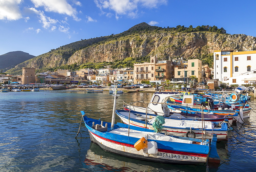 Colorful boats anchoring at the port of Mondello with view to Mount Gallo in the background, Palermo, Sicily, Italy, Europe - 1283-705