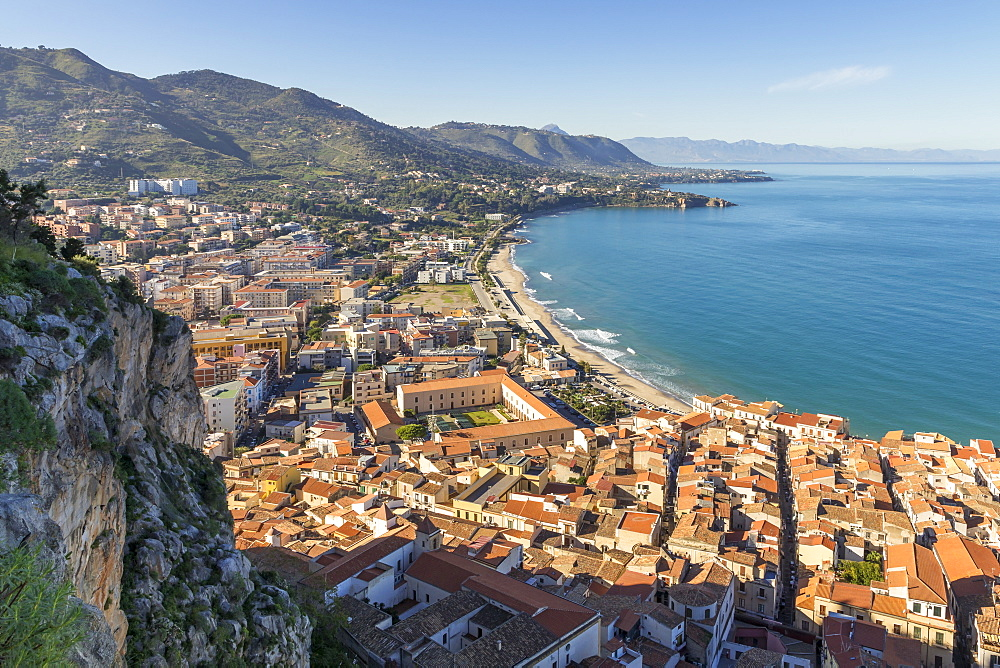 View from Rocca di Cefalu over the town and the beach, Cefalu, Sicily, Italy, Europe - 1283-706