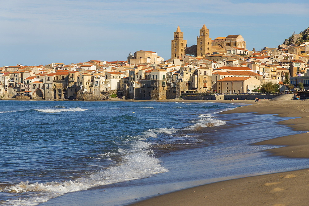 The cathedral and the old town seen from the beach, Cefalu, Sicily, Italy, Europe - 1283-710