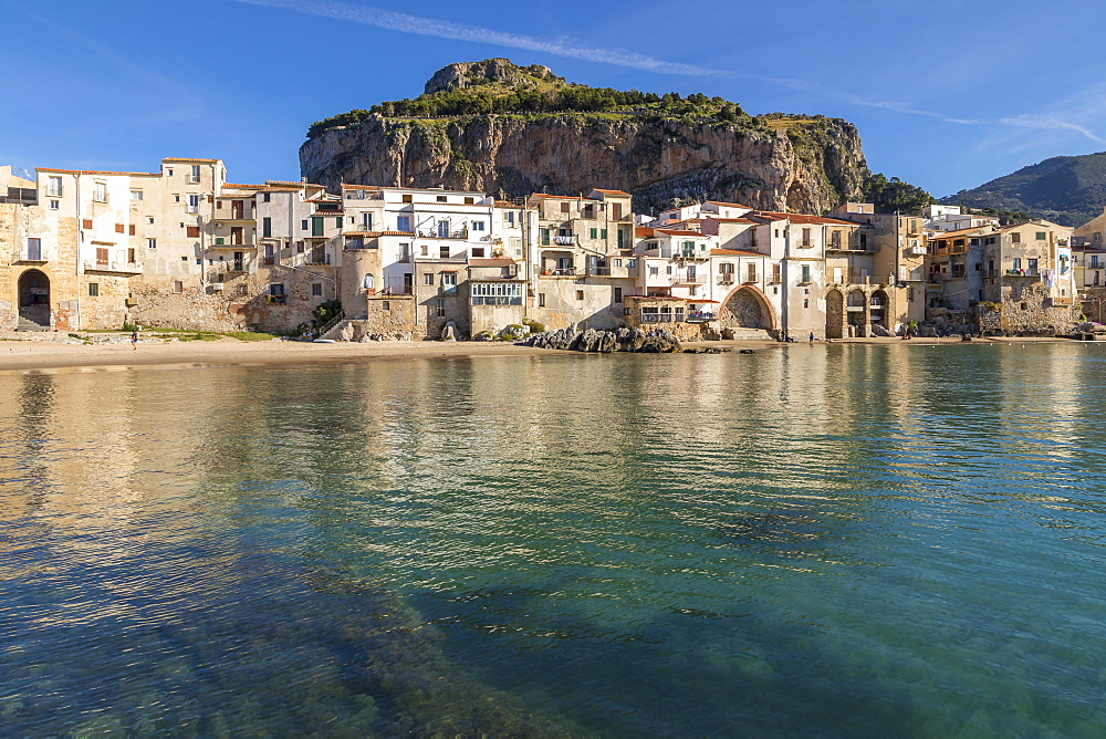 The old town of Cefalu with Rocca di Cefalu in the background, Cefalu, Sicily, Italy, Europe - 1283-713