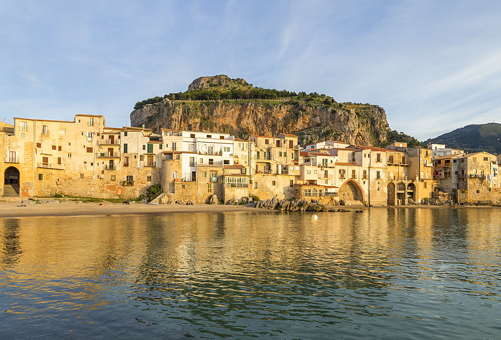 The old town of Cefalu with Rocca di Cefalu in the background, Cefalu, Sicily, Italy, Europe - 1283-717