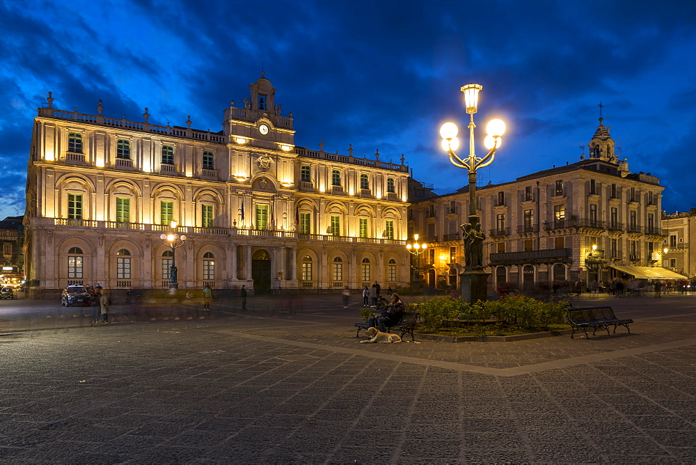 The illuminated University of Catania at University Square during blue hour, Catania, Sicily, Italy, Europe