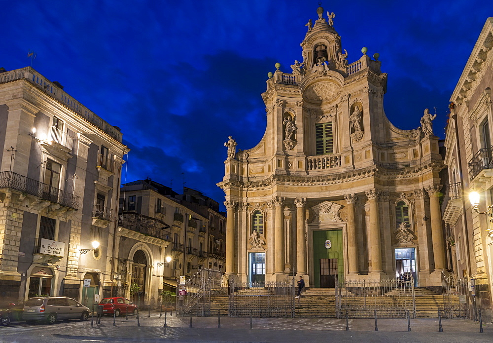 Illuminated Basilica della Collegiata church at dusk, Catania, Sicily, Italy, Europe