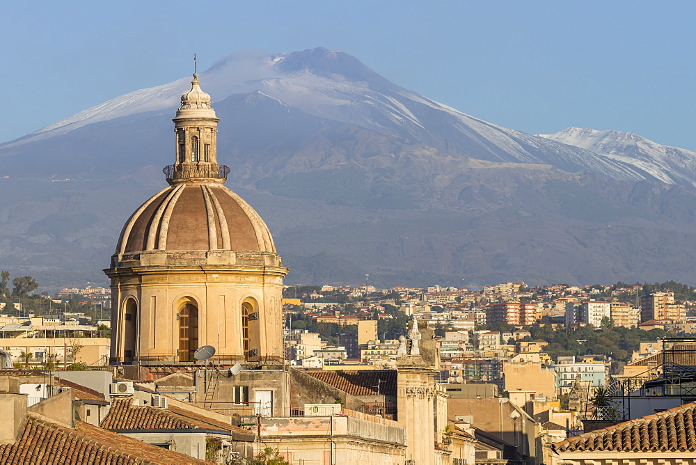 The cupula of Saint Michael church and Mount Etna in the background, Catania, Sicily, Italy, Europe - 1283-729
