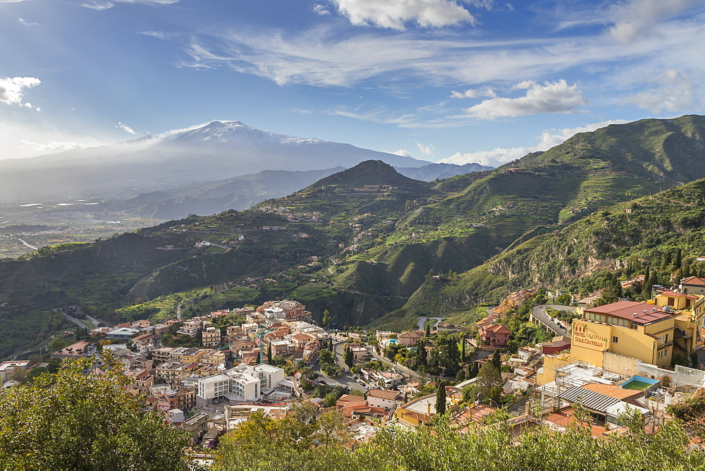 View from Madonna della Rocca church over Taormina and to Mount Etna, Taormina, Sicily, Italy, Europe - 1283-732