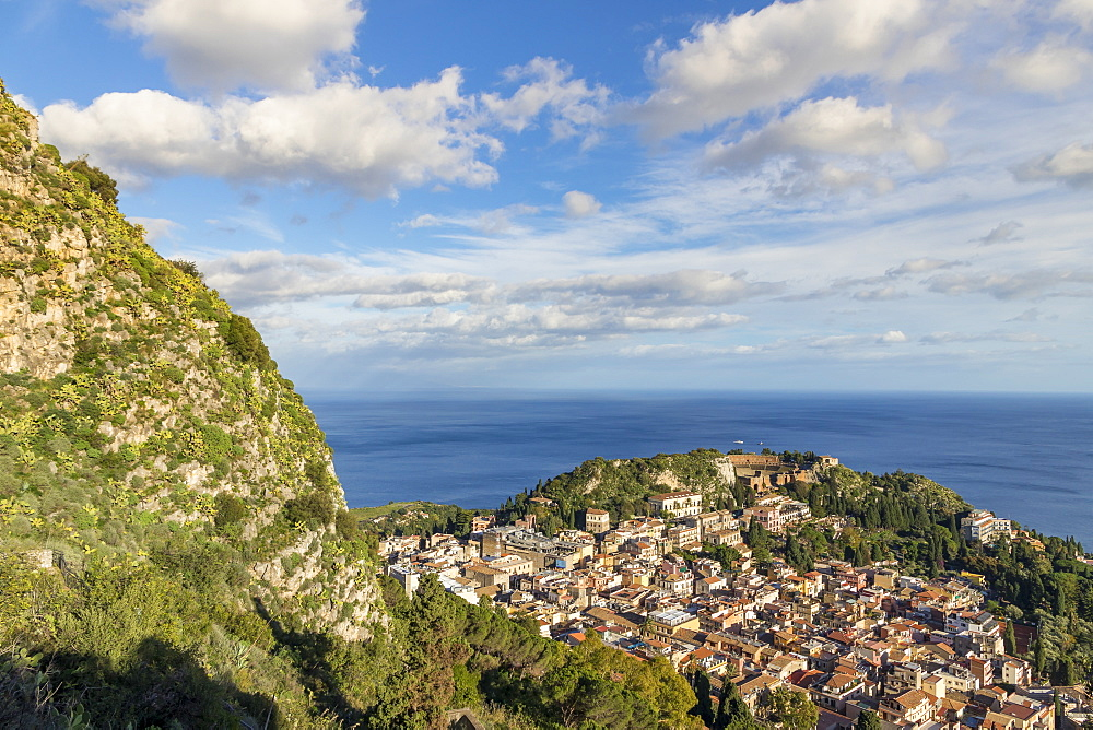 View from Madonna della Rocca church down to the city centre, Taormina, Sicily, Italy, Europe - 1283-734