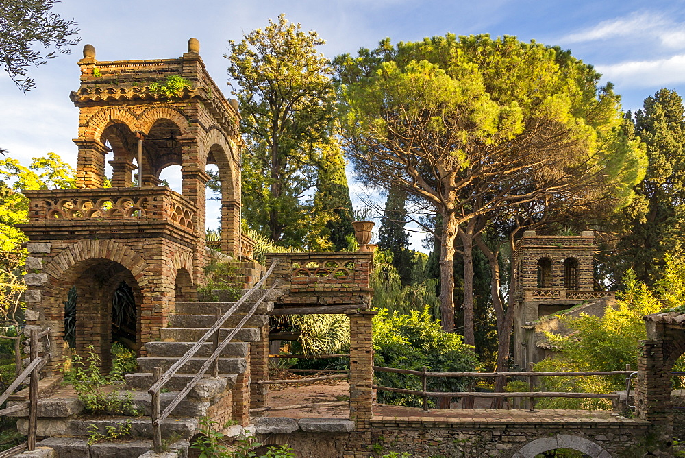 One of the so called 'Victorian Follies' inside the public garden Parco Duca di Cesaro, Taormina, Sicily, Italy, Europe