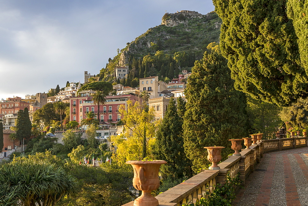 View from the public garden Parco Duca di Cesaro, Taormina, Sicily, Italy, Europe