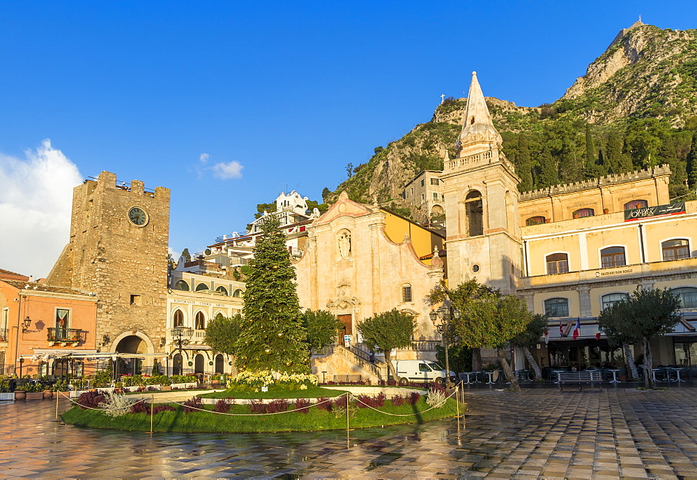 San Guiseppe church and the clock tower gate at Piazza IX Aprile, Taormina, Sicily, Italy, Europe - 1283-737