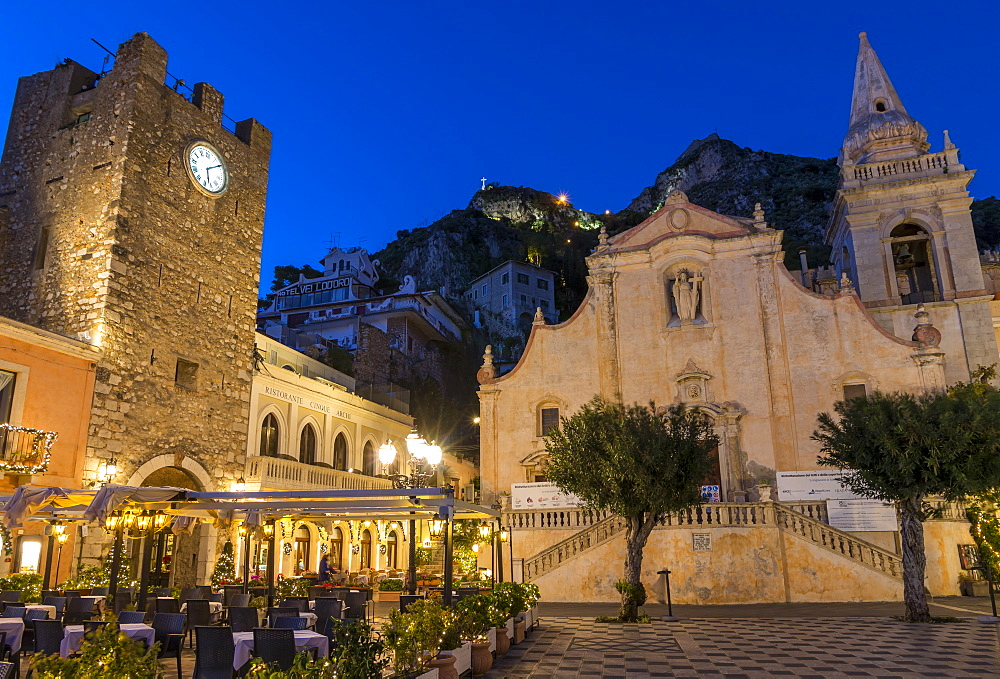 San Guiseppe church and the clock tower gate at Piazza IX Aprile during blue hour, Taormina, Sicily, Italy, Europe - 1283-740