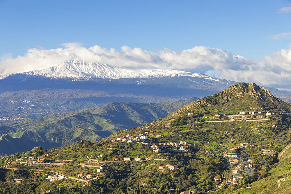 View from Madonna della Rocca church to Mount Etna, Taormina, Sicily, Italy, Europe - 1283-743