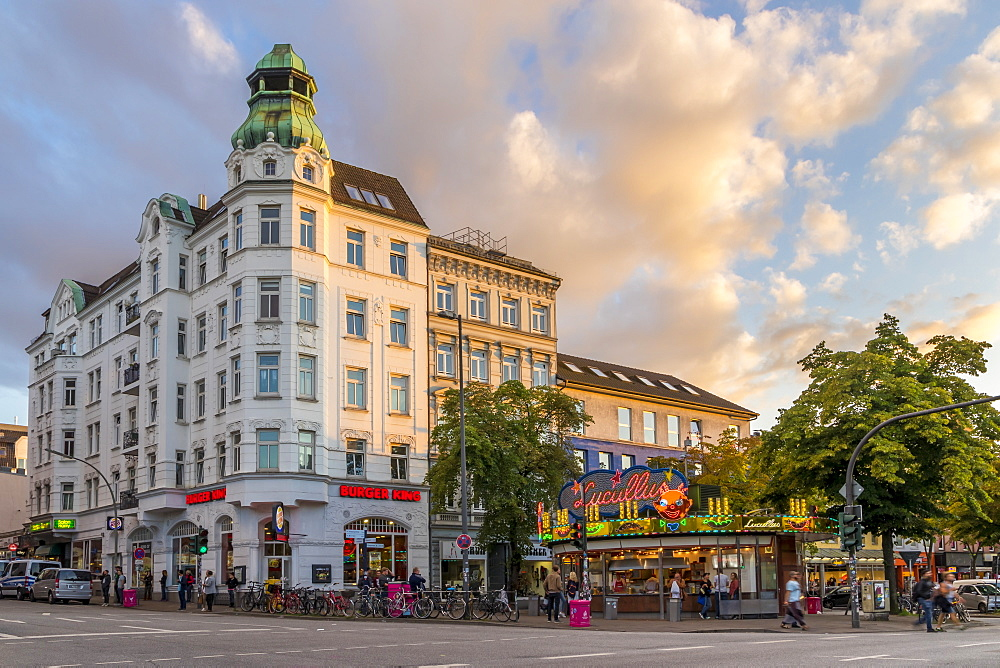 Buildings at the junction of Reeperbahn and Davidstrasse in Hamburg at sunset