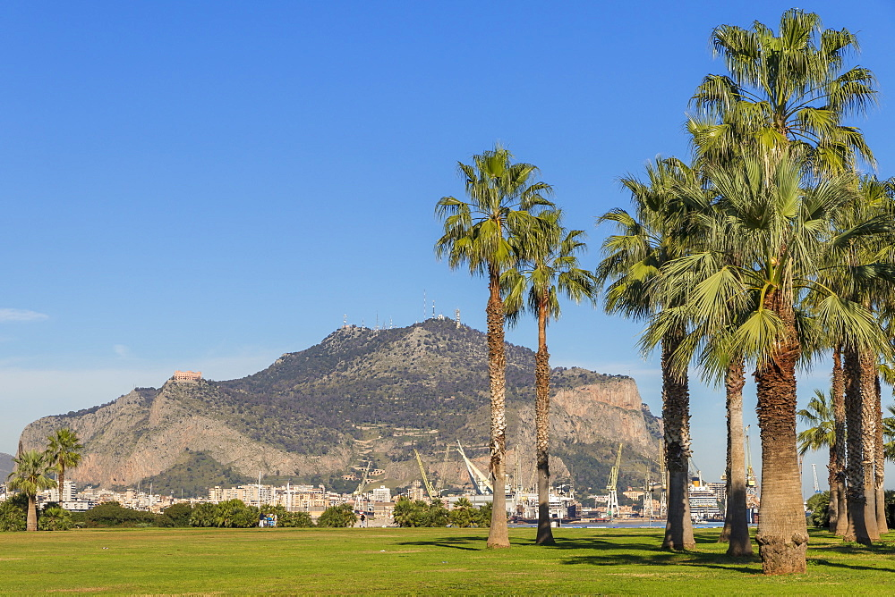 Mount Pellegrino seen from the seaside park area, Palermo, Sicily, Italy, Europe - 1283-764