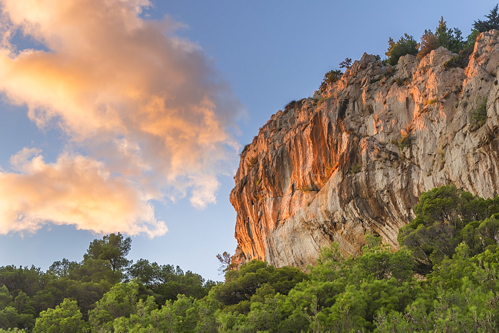 Last sunlight illuminating the rocks at Cape Osejava near Makarska, Croatia, Europe