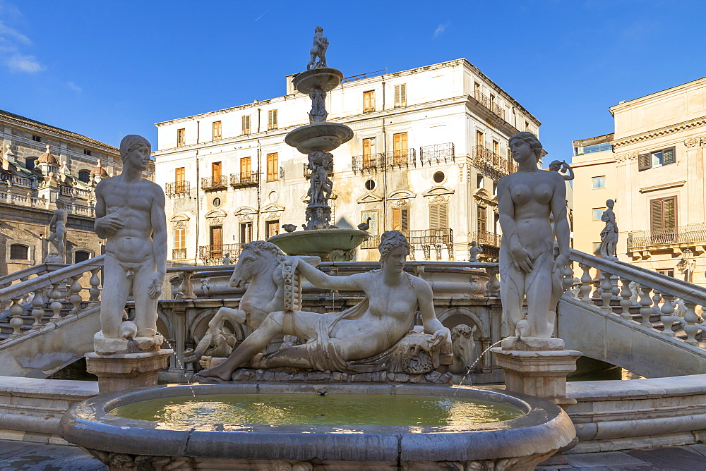The Praetorian Fountain (Fontana Pretoria) in Palermo, Sicily, Italy, Europe