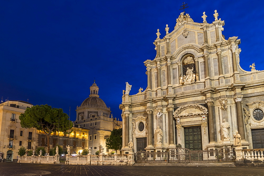 The illuminated cathedral and Saint Agatha Abbey during blue hour, Catania, Sicily, Italy, Europe - 1283-785