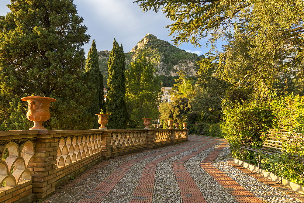 View from the public garden Parco Duca di Cesaro, Taormina, Sicily, Italy, Europe - 1283-796
