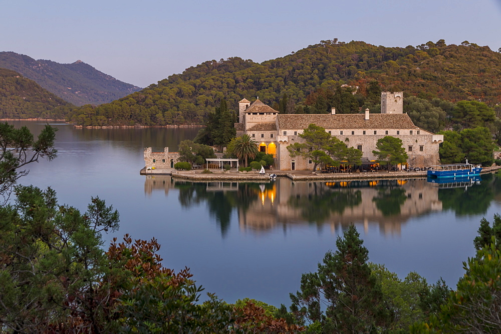 Monastery of Saint Mary at Veliko Jezero (Big Lake) on Mljet Island at dusk, Croatia, Europe
