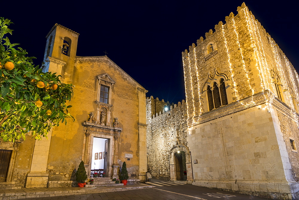 Illuminated Santa Caterina Church and Corvaja Palace at night, Taormina, Sicily, Italy, Europe