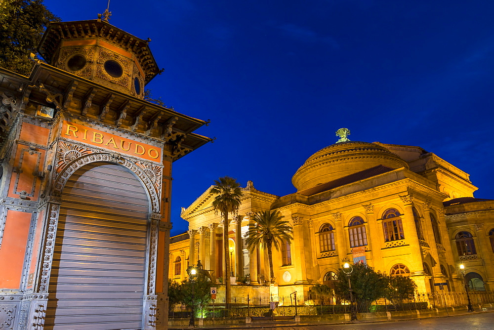The Massimo Theatre (Teatro Massimo) during blue hour, Palermo, Sicily, Italy, Europe - 1283-806