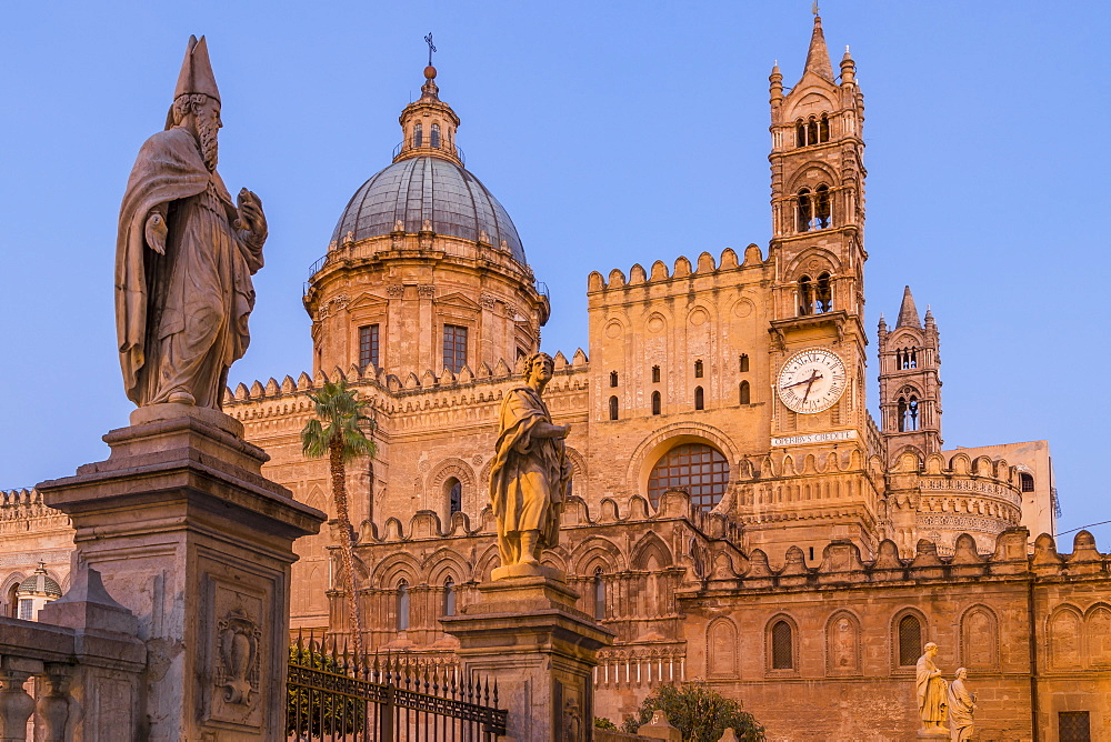 The Palermo Cathedral (UNESCO World Heritage Site) at dawn, Palermo, Sicily, Italy, Europe - 1283-808