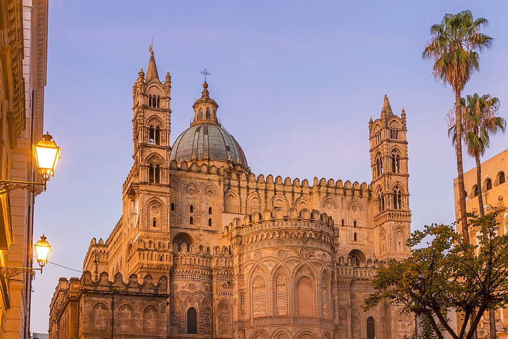 The Palermo Cathedral (UNESCO World Heritage Site) at dawn, Palermo, Sicily, Italy, Europe - 1283-809