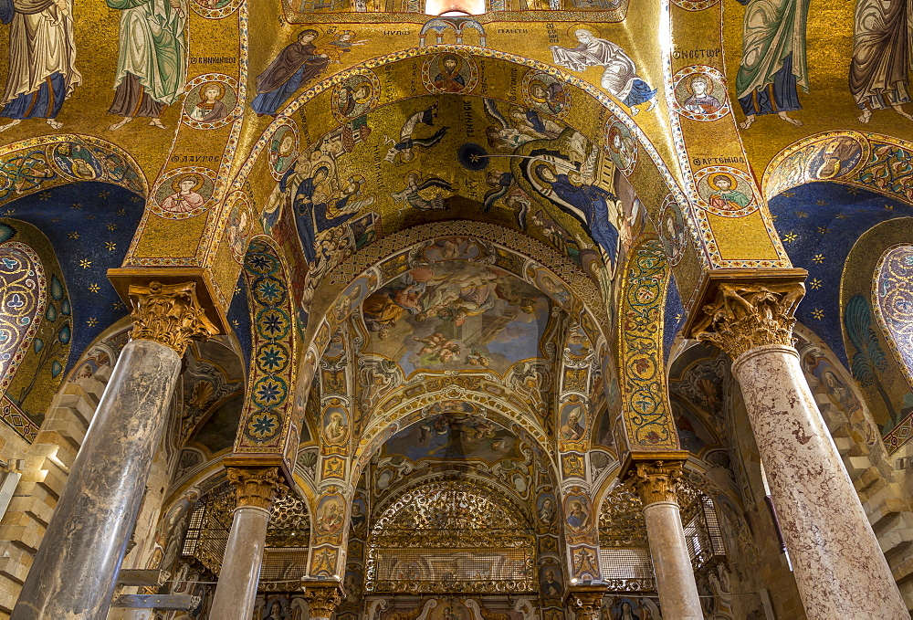 Interior of the Santa Maria dell'Ammiraglio church (La Martorana), UNESCO World Heritage Site, Palermo, Sicily, Italy, Europe