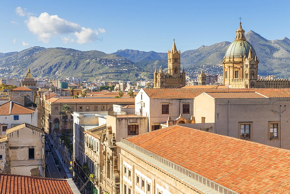View from Santissimo Salvatore Church over the old town and the Palermo Cathedral, Palermo, Sicily, Italy, Europe