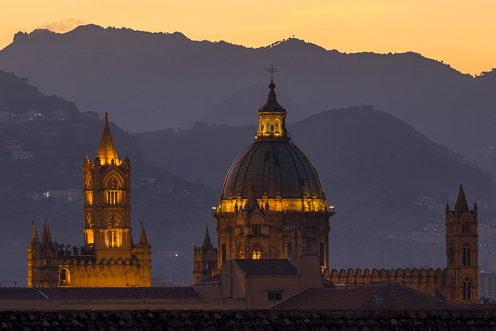 Palermo Cathedral, UNESCO World Heritage Site, at twilight, Palermo, Sicily, Italy, Europe