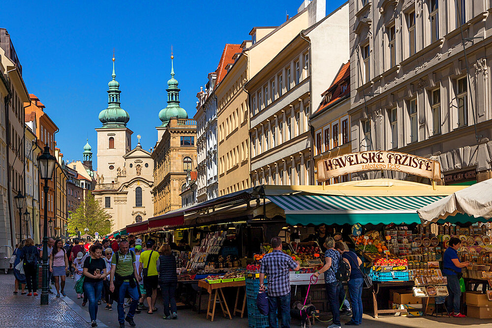 Havelska Market in the old town with Church of St Gall in the background, Prague, Bohemia, Czech Republic, Europe