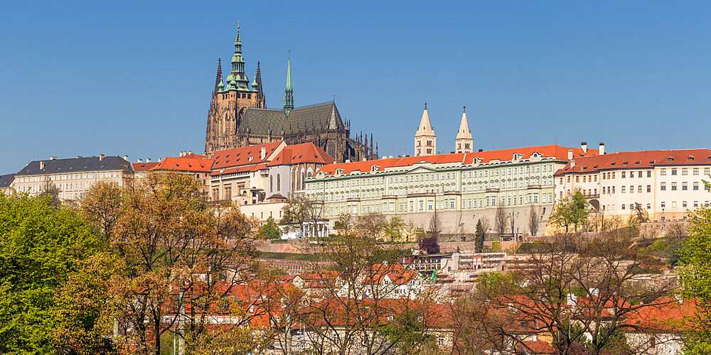 Panoramic view to Prague Castle and St. Vitus Cathedral, Prague, Bohemia, Czech Republic, Europe