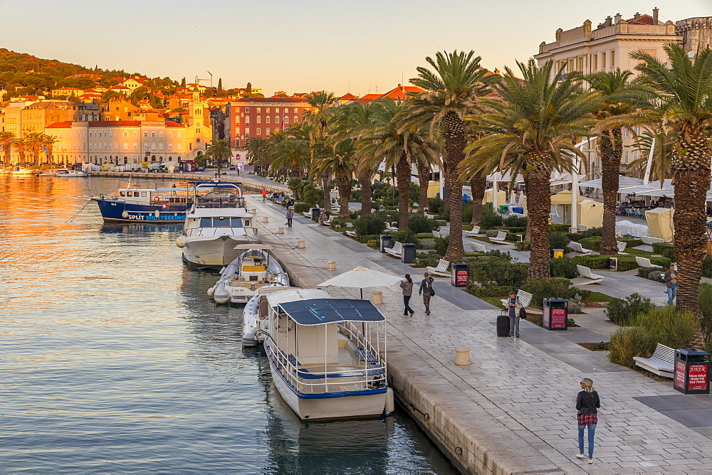 The seaside promenade of Split at sunrise, Split, Croatia, Europe