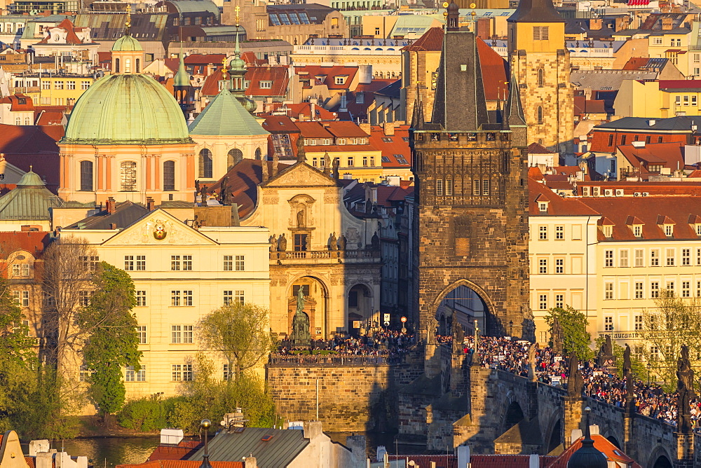 View from the Prague Castle down to the Charles Bridge and the old town at sunset, Prague, Bohemia, Czech Republic, Europe - 1283-853