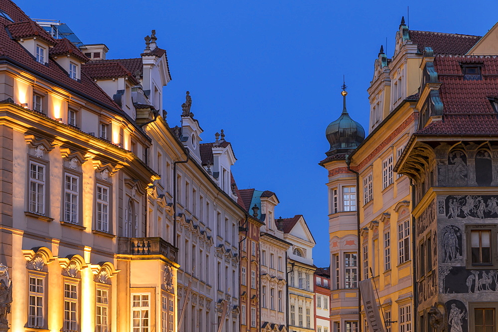 Facades of historical buildings near the old town market square, UNESCO World Heritage Site, Prague, Bohemia, Czech Republic, Europe