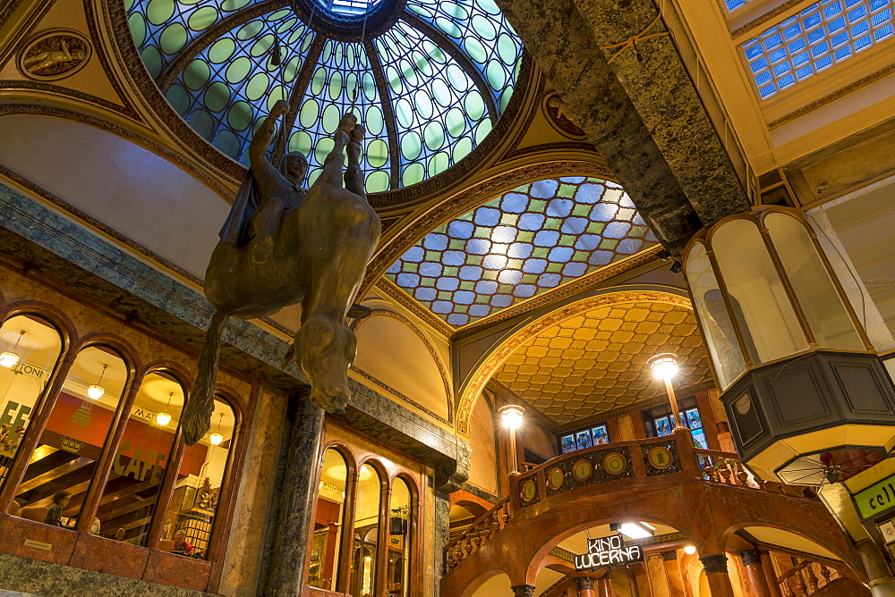 The art-nouveau atrium of the famous Lucerna Palace Shopping Arcade, Prague, Bohemia, Czech Republic, Europe