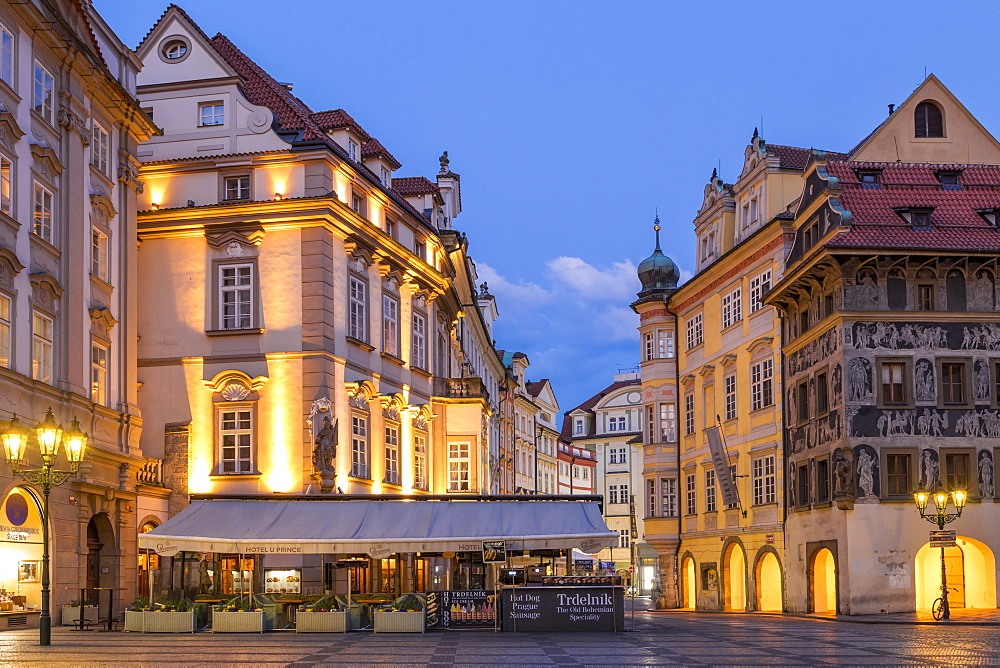 Historical buildings near the old town market square, UNESCO World Heritage Site, Prague, Bohemia, Czech Republic, Europe