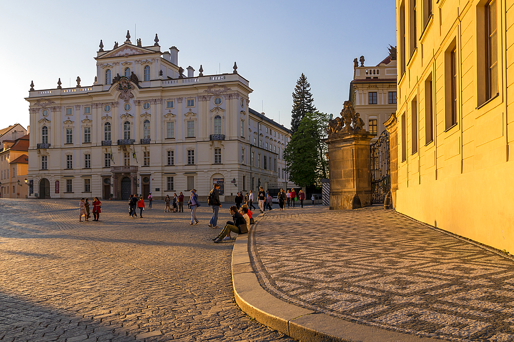 Archbishop Palace at Hradcany Square near Prague Castle at sundown, Prague, Bohemia, Czech Republic, Europe