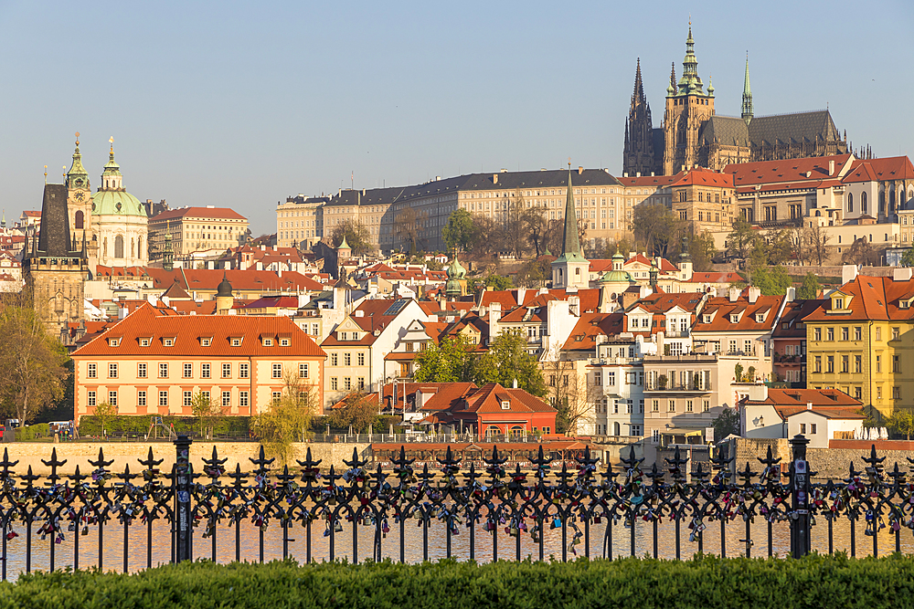 View from Krizovnicke Square to the Mala Strana District and Prague Castle, Prague, Bohemia, Czech Republic, Europe