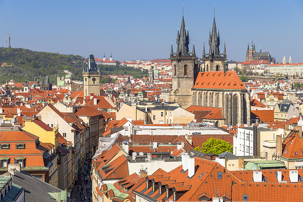 View to Our Lady before Tyn Church, the Old Town Hall Clock Tower and Prague Castle, Prague, Bohemia, Czech Republic